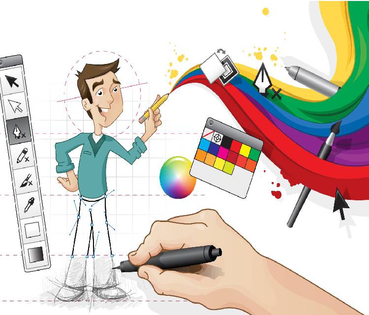 Image of An Illustration Drawing of A Person With Some Editing Options in the Left Side and Colorful Patterns on the Right Side