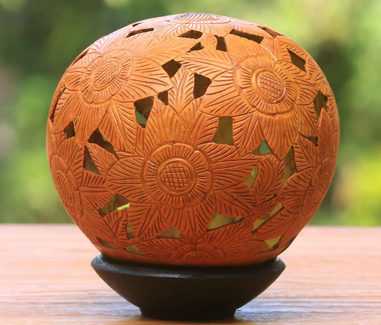 An Elegant Coconut Shell Carving.