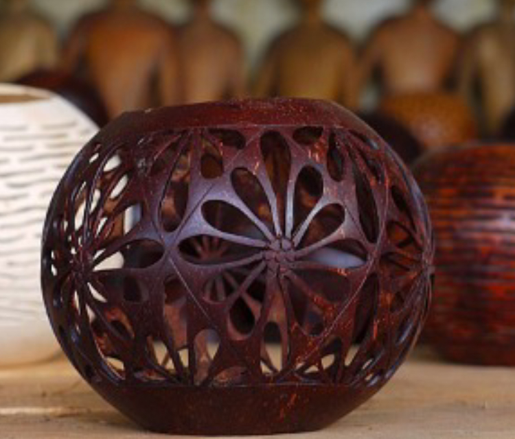 Handicraft Of Indigenous People In Bali - Coconut Shell Carving.