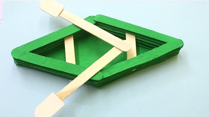 Green Colored Paddle Boat BY Icecream Sticks.
