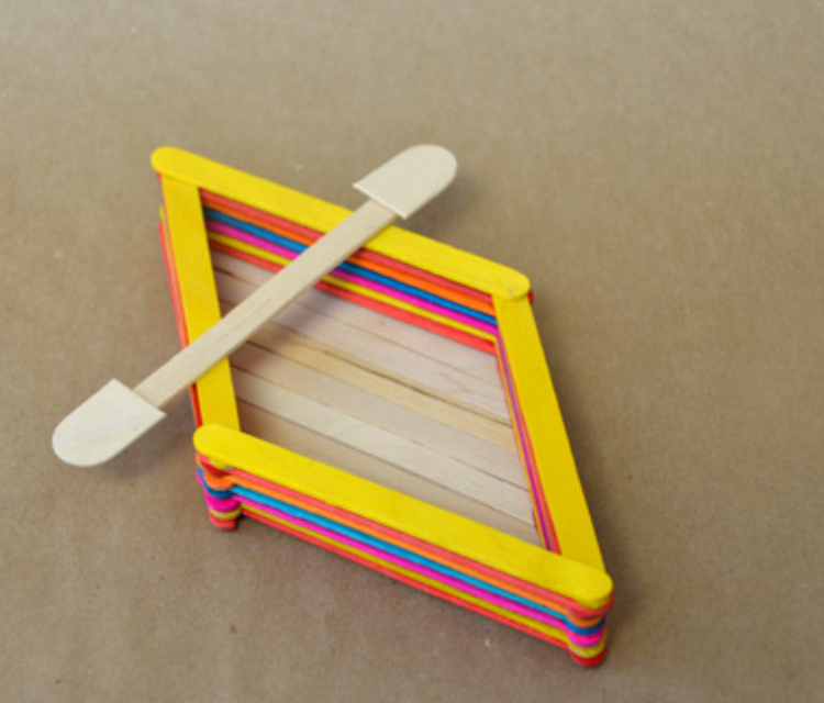 Colorful Paddle Boat Made From Icecream Sticks.