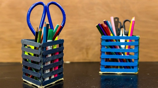 Colorful pencil Holders Made By Icecream Sticks.