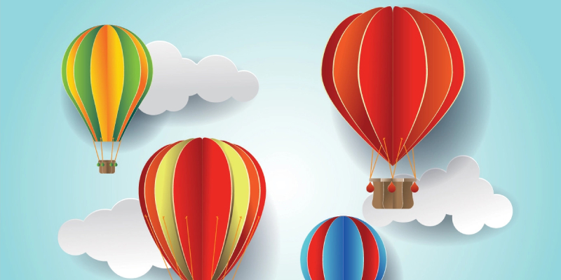 Hot Air Balloon Patter With Paper Crafts.