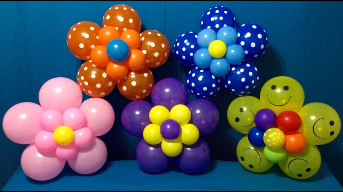 Multi Colored Balloon Flower Shaped Displays For Parties.