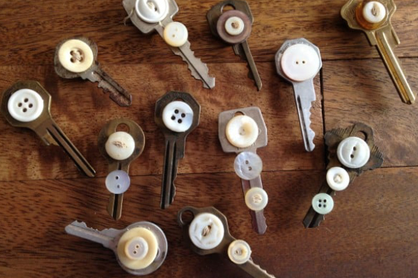 Vintage Key Button Magnets