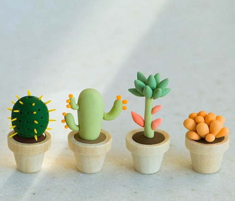 Small Cactus Pots Made Up Of Clay.