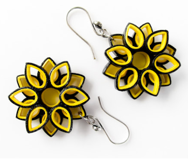 Paper Made Earring In Black & Yellow Combo.
