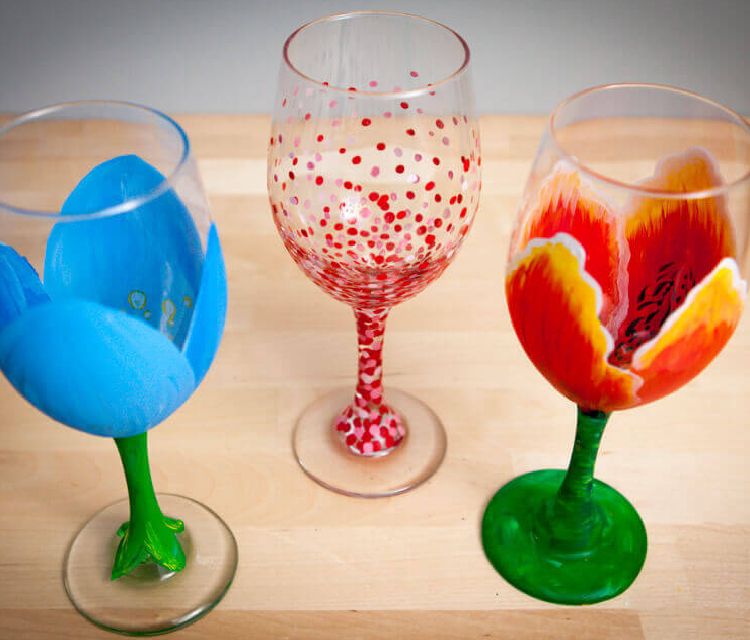 Three Painted Glasses Placed On The Table