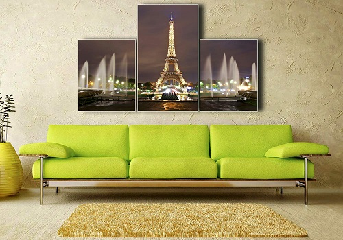 Eiffel Tower Painted On The Glass - Hanging On The Wall In House Living Room.