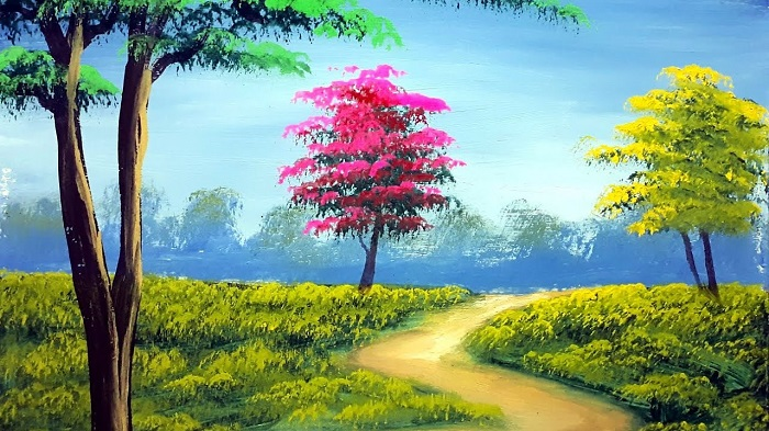 Nature Painting Of A Path Towards Forest