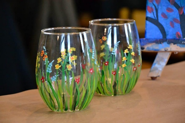 Two Glasses Painted Like Green Leaves.