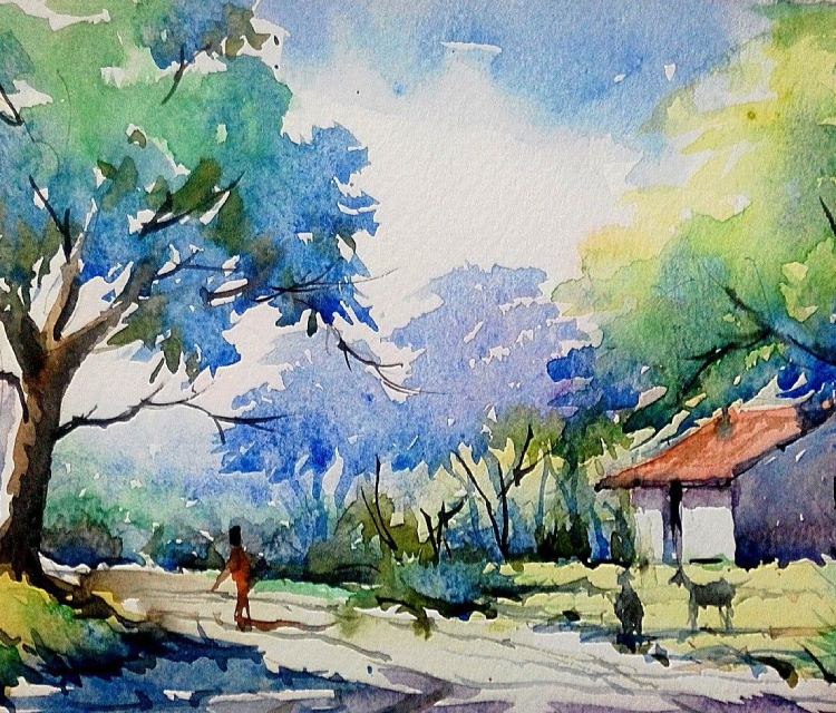 Water Color Painting Of A Village