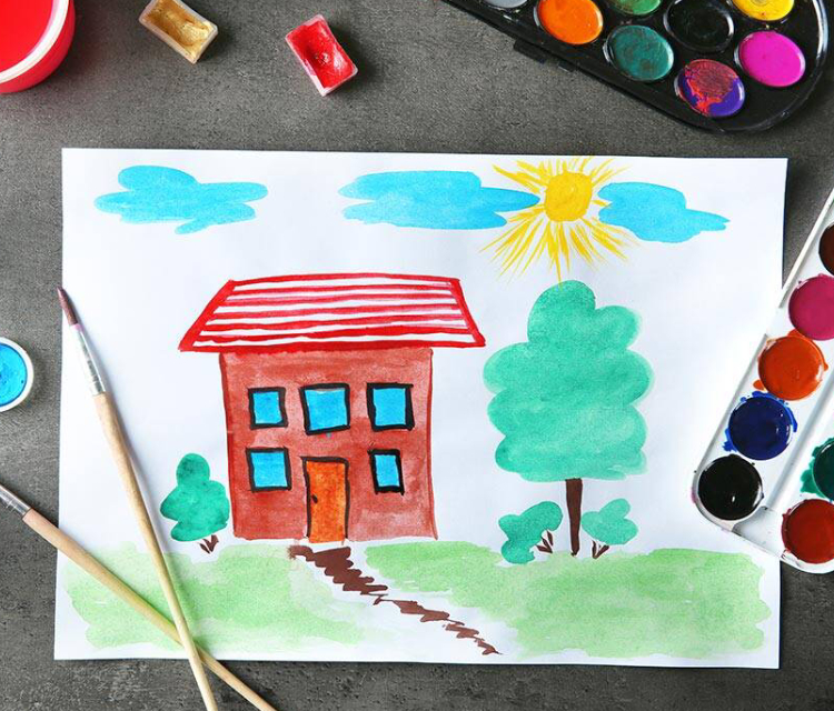 In A Chart, A Home Drawn And Painted By A Kid.