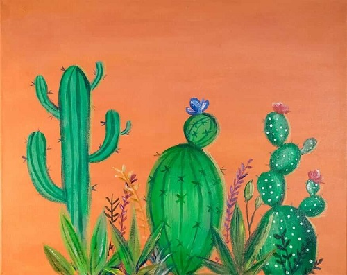 Green Cactus Drawing In A Brown Background.