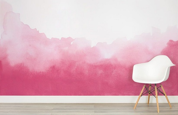 Wall Painting - Pink Color On The Wall In A White Background.