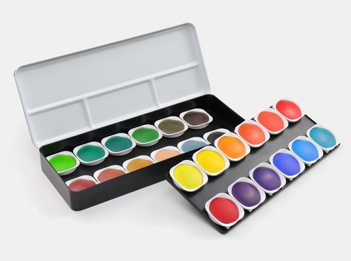 An Opened Water Color Box For Painting Purpose.