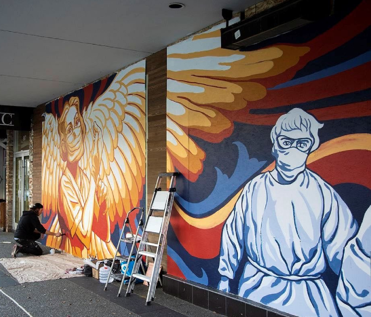 An image representing a Muralist at work